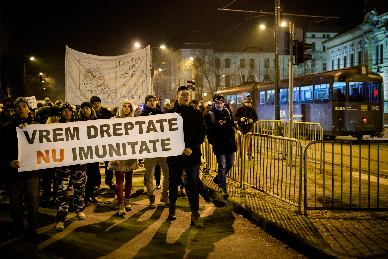 Protesters taking to the streets in Timisoara, Romania